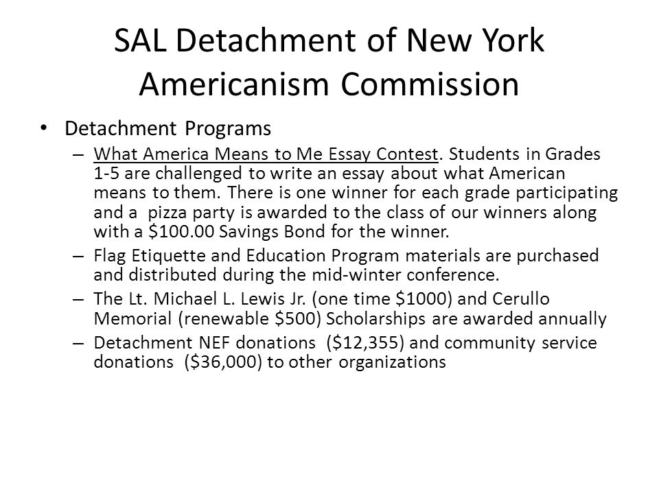 SAL Detachment of New York Americanism Commission Detachment Programs – What America Means to Me Essay Contest.