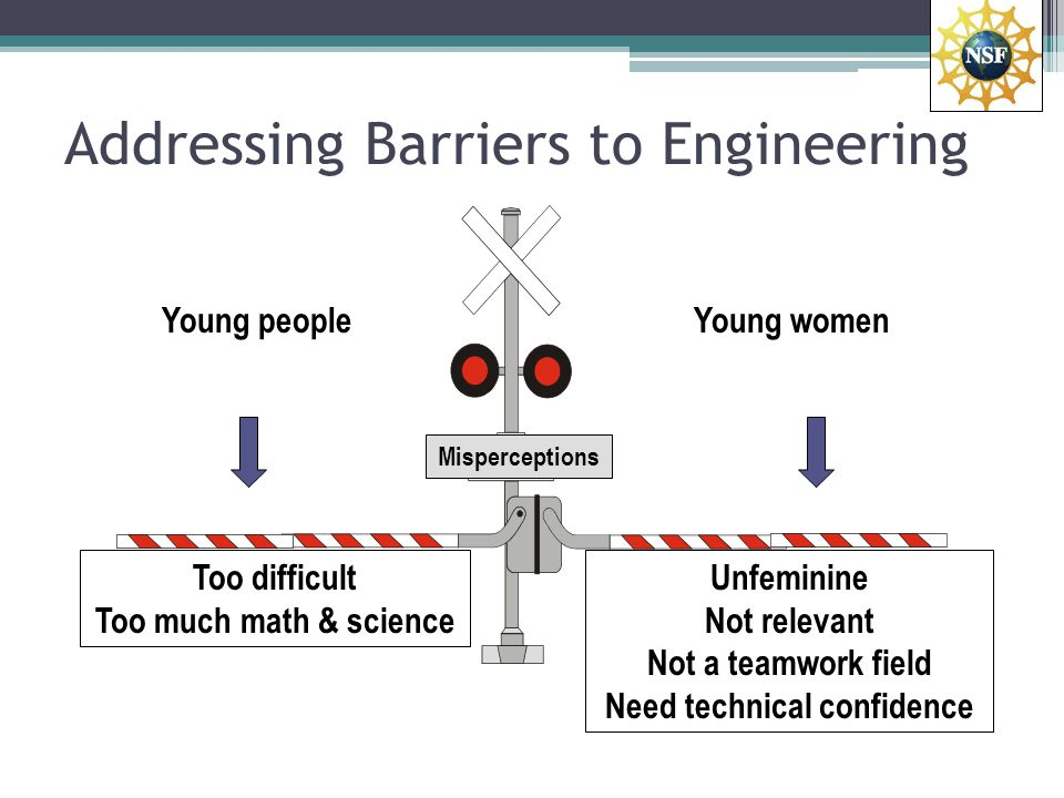 Addressing Barriers to Engineering Young people Hands-on STEM exercises Reach parents, teachers, counselors Young women Role Models Teamwork exercises Demonstrate relevance Build Technical Confidence Accurate information
