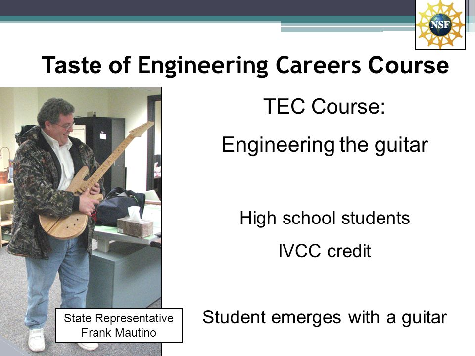 TEC Course Content How a guitar works – physics, music Wiring and setup Instrument design Neck, body, fret board parts Sanding, finishing Wiring harnesses Final assembly and setup Measuring build variation Jam session Students go home with a guitar Mark French Purdue University