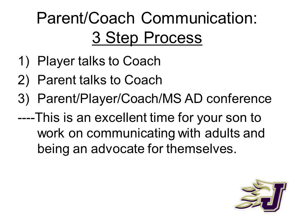 Parent/Coach Communication: 3 Step Process 1)Player talks to Coach 2)Parent talks to Coach 3)Parent/Player/Coach/MS AD conference ----This is an excellent time for your son to work on communicating with adults and being an advocate for themselves.