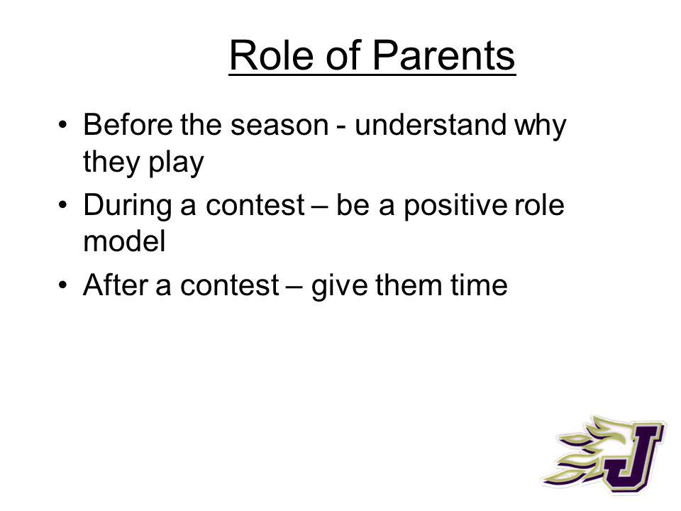 Role of Parents Before the season - understand why they play During a contest – be a positive role model After a contest – give them time