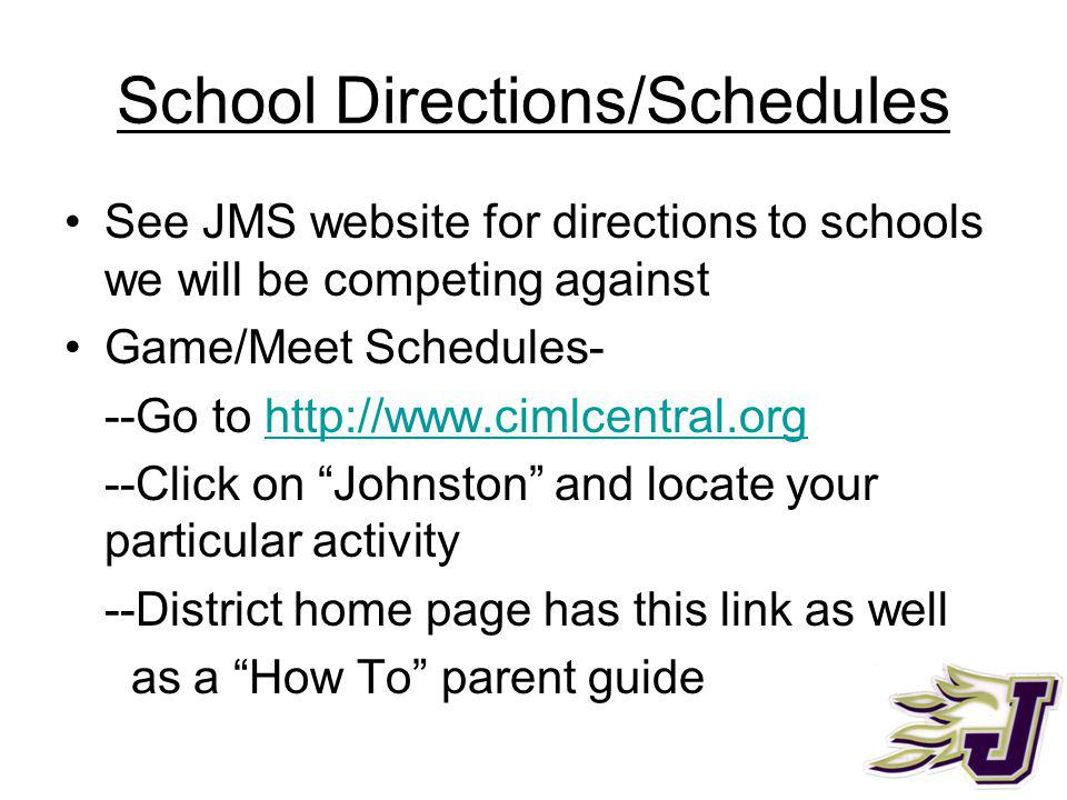 Weather Cancellations will be on JMS website as soon as a decision is made along with the make up date if known Decisions typically made after 1:00 CIML website has email option where you are automatically notified of a cancellation