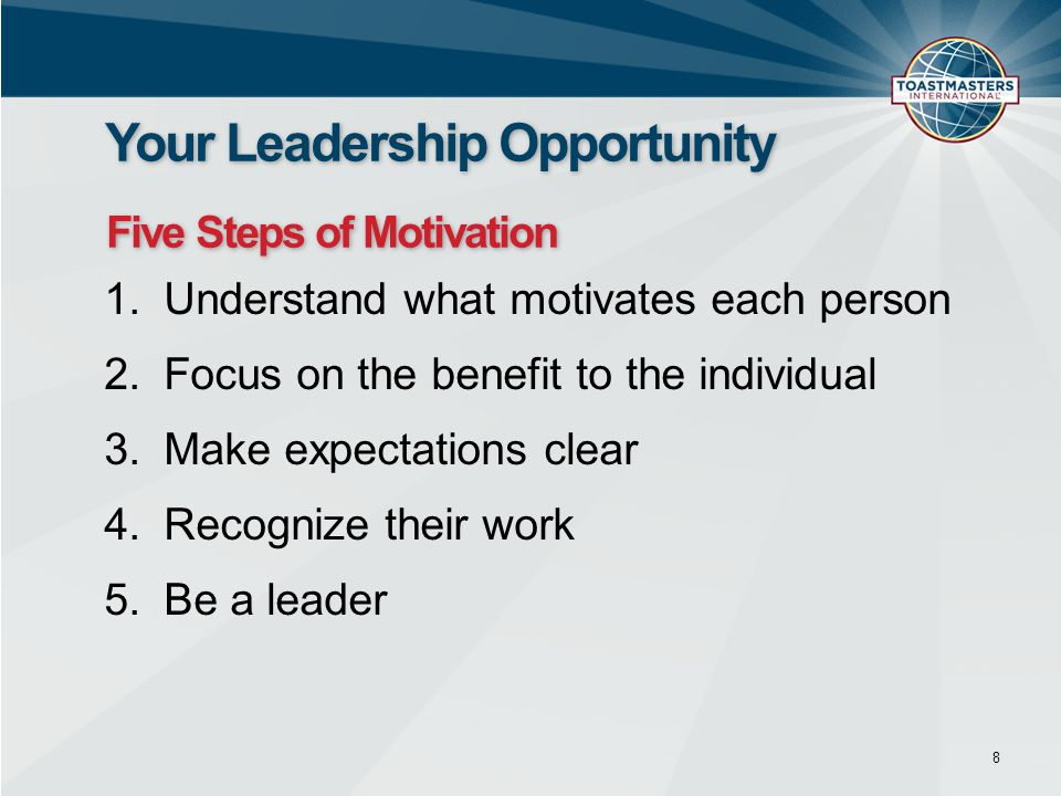 1.Decide what to delegate 2.Decide who will do the task 3.Assign responsibility 4.Grant authority 5.Establish accountability 9 Your Leadership Opportunity Five Steps of Delegation