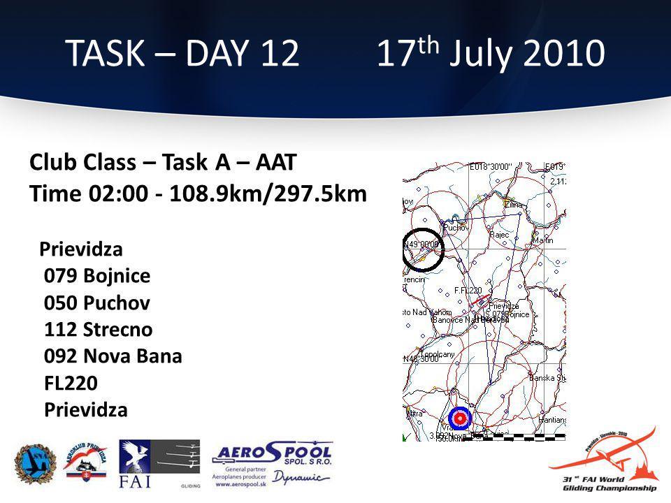 Club Class – Task A – AAT Time 02:00 - 108.9km/297.5km Prievidza 079 Bojnice 050 Puchov 112 Strecno 092 Nova Bana FL220 Prievidza TASK – DAY 12 17 th July 2010