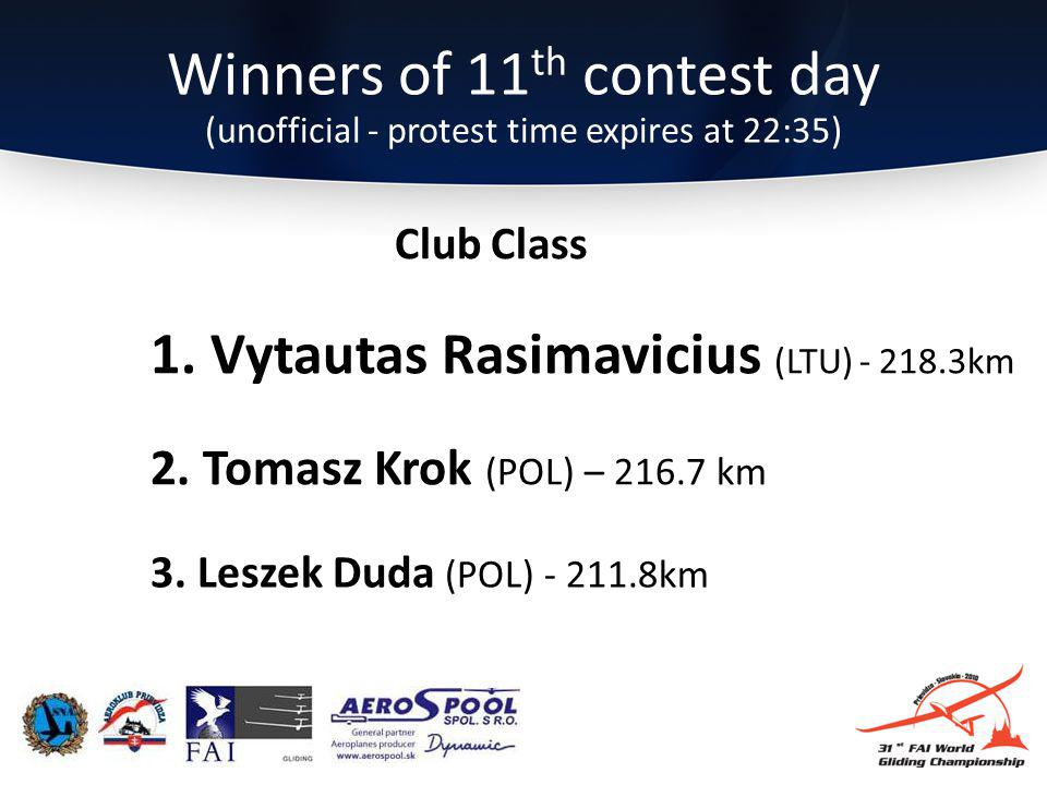 Winners of 11 th contest day (unofficial - protest time expires at 22:35) 3.