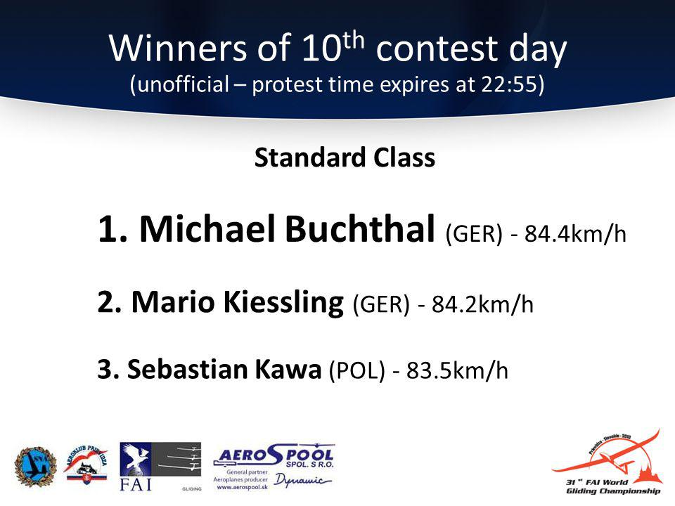 Winners of 10 th contest day (unofficial – protest time expires at 22:55) 3.