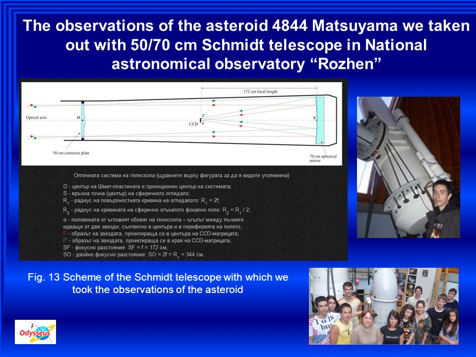 The observations of the asteroid 4844 Matsuyama we taken out with 50/70 cm Schmidt telescope in National astronomical observatory Rozhen Fig.