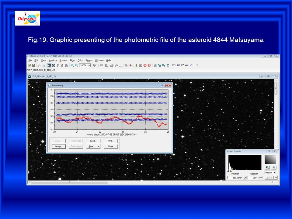 Fig.19. Graphic presenting of the photometric file of the asteroid 4844 Matsuyama.