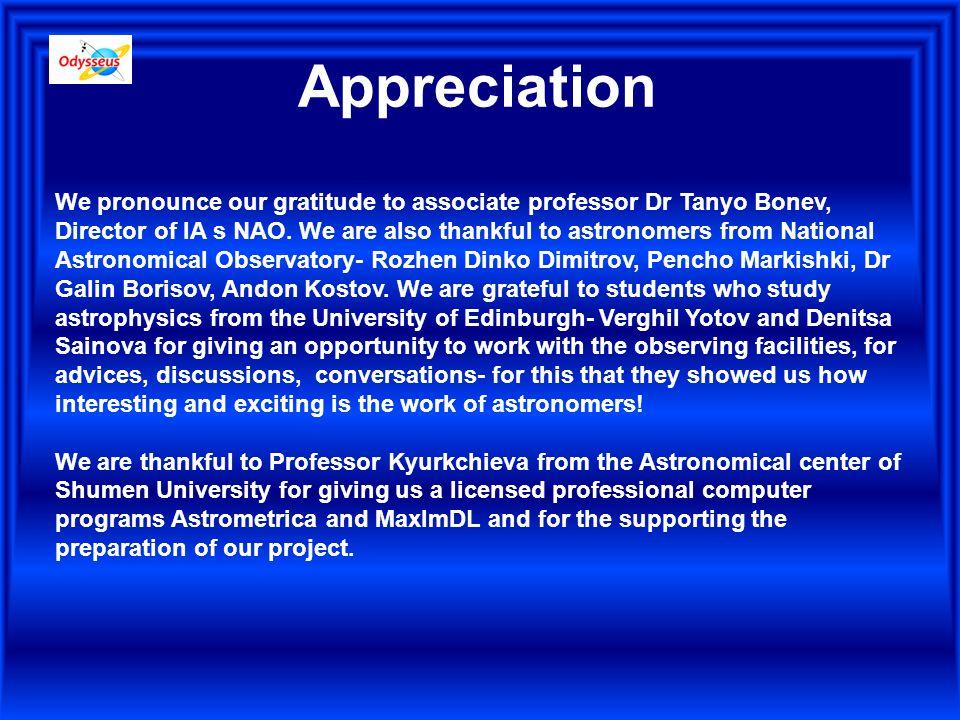 Appreciation We pronounce our gratitude to associate professor Dr Tanyo Bonev, Director of IA s NAO.