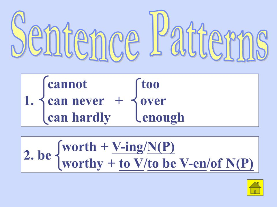 worth + V-ing/N(P) worthy + to V/to be V-en/of N(P) cannot too 1.