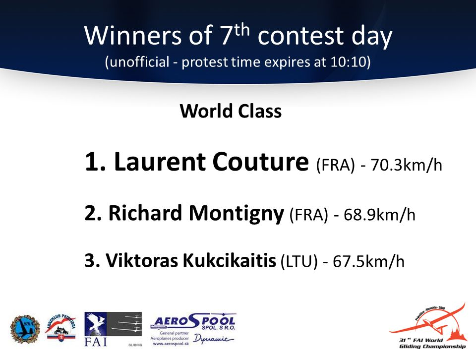 Winners of 7 th contest day (unofficial - protest time expires at 10:10) 3.