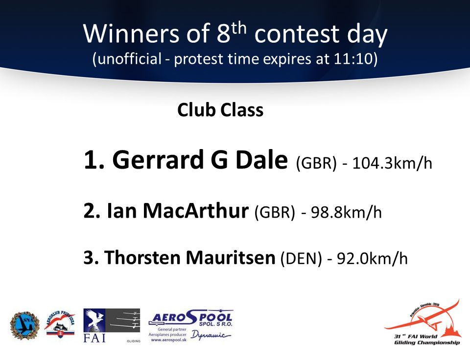 Winners of 8 th contest day (unofficial - protest time expires at 11:10) 3.