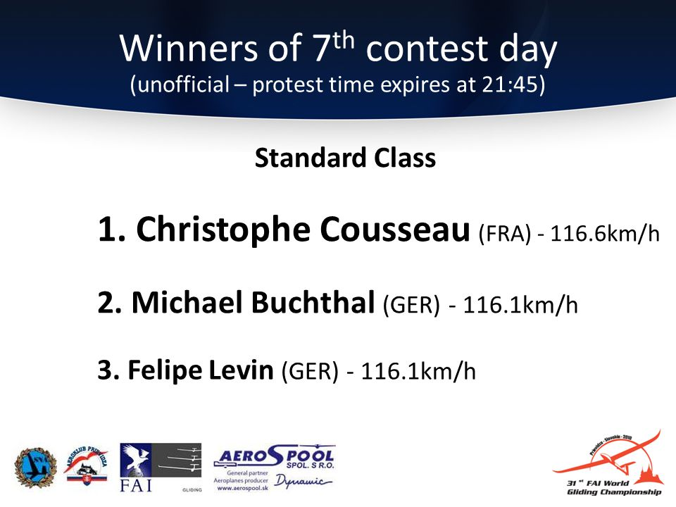 Winners of 7 th contest day (unofficial – protest time expires at 21:45) 3.