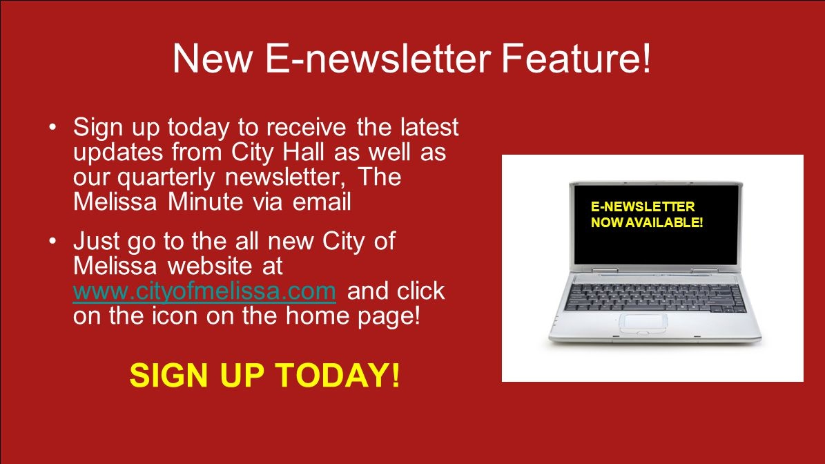 New E-newsletter Feature.