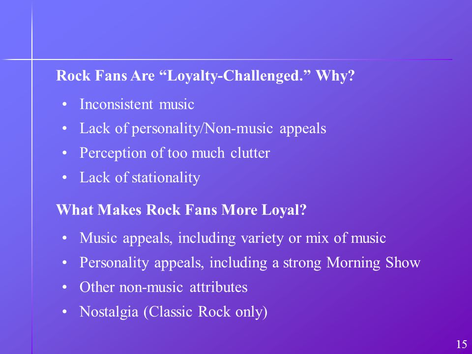 Rock Fans Are Loyalty-Challenged. Why? 15 Inconsistent music Lack of personality/Non-music appeals Perception of too much clutter Lack of stationality