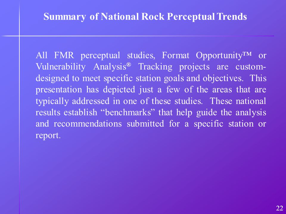 All FMR perceptual studies, Format Opportunity or Vulnerability Analysis ® Tracking projects are custom- designed to meet specific station goals and objectives.
