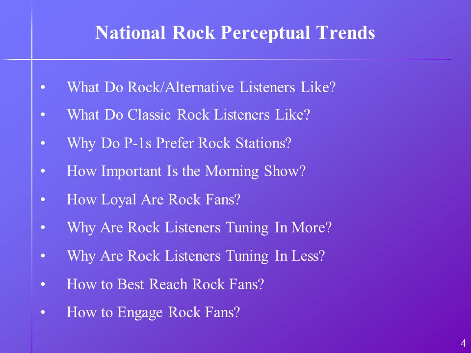 National Rock Perceptual Trends What Do Rock/Alternative Listeners Like.
