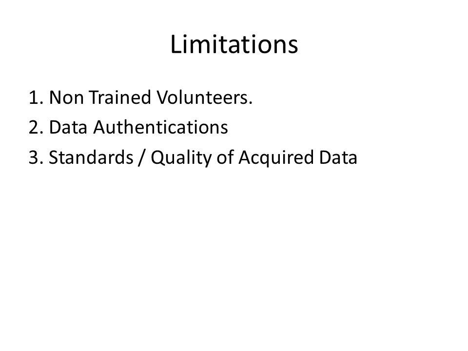 Limitations 1. Non Trained Volunteers. 2. Data Authentications 3.