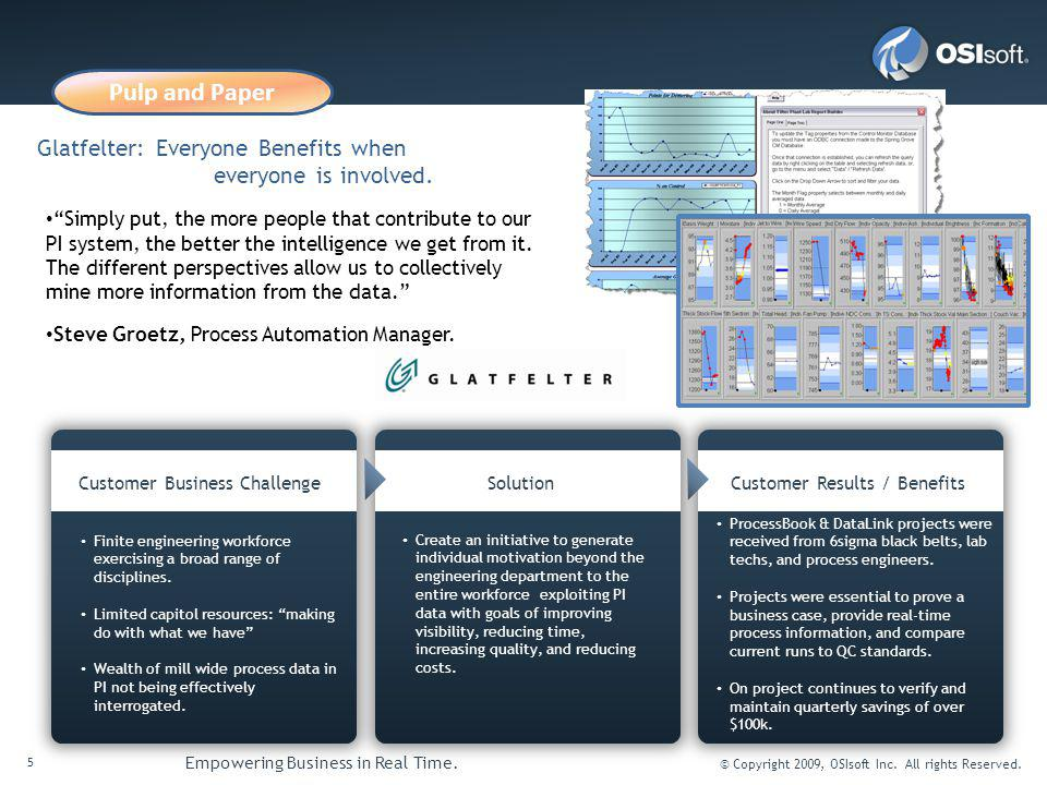 5 Empowering Business in Real Time.© Copyright 2009, OSIsoft Inc.