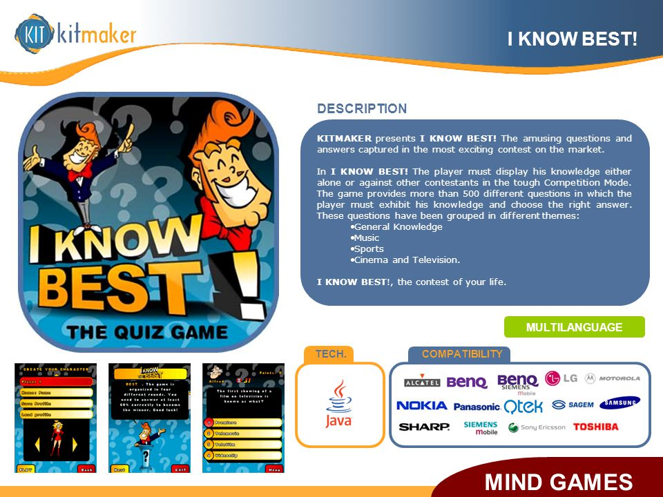 TECH.COMPATIBILITY DESCRIPTION KITMAKER presents I KNOW BEST! The amusing questions and answers captured in the most exciting contest on the market. I