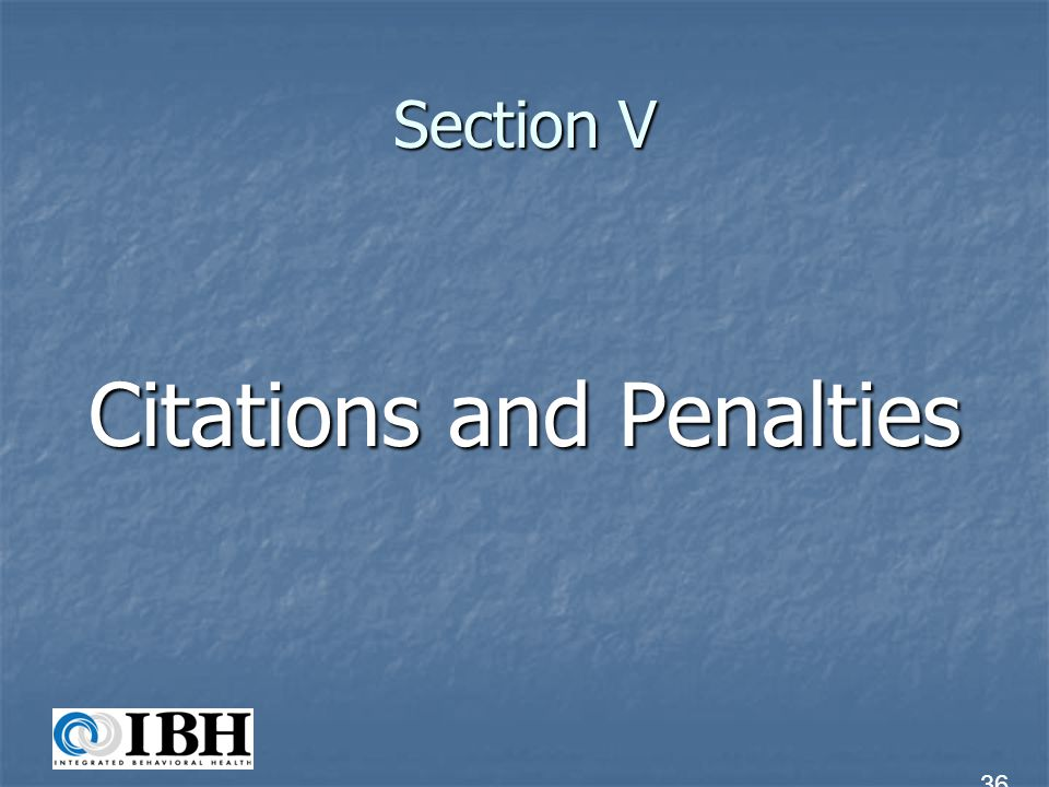 Section V Citations and Penalties 36