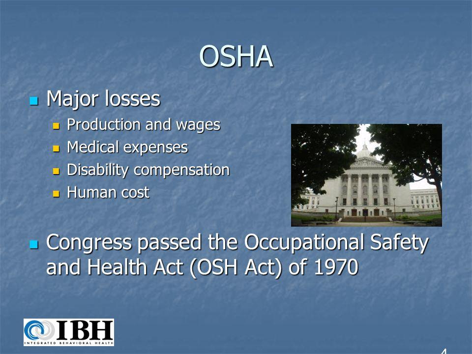 OSHA Major losses Major losses Production and wages Production and wages Medical expenses Medical expenses Disability compensation Disability compensa