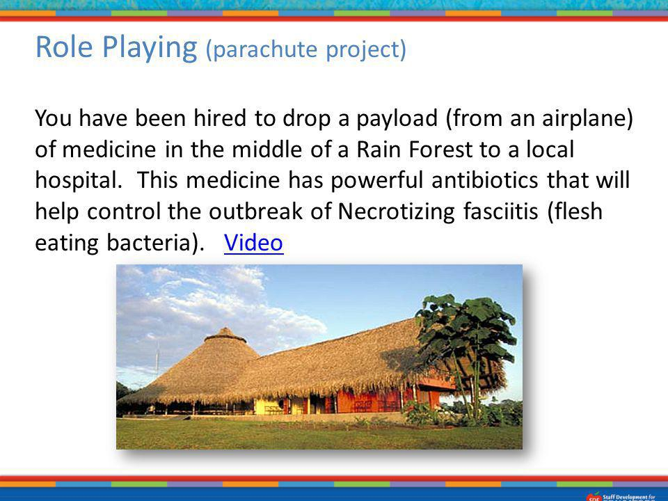 Role Playing (parachute project) You have been hired to drop a payload (from an airplane) of medicine in the middle of a Rain Forest to a local hospit