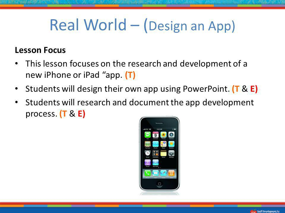 Lesson Focus This lesson focuses on the research and development of a new iPhone or iPad app. (T) Students will design their own app using PowerPoint.