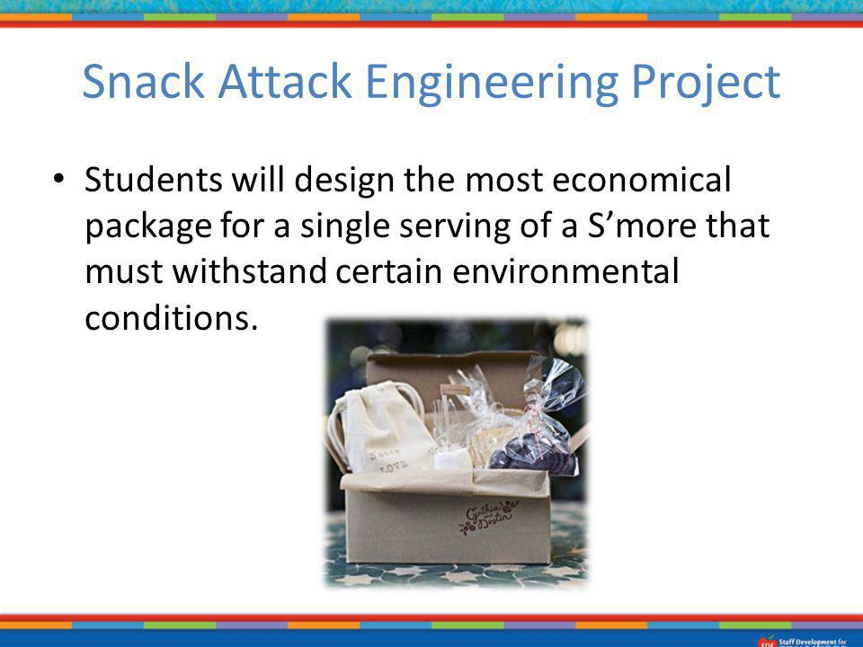 Snack Attack Engineering Project Students will design the most economical package for a single serving of a Smore that must withstand certain environm