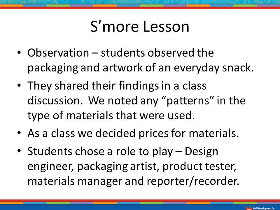 Observation – students observed the packaging and artwork of an everyday snack. They shared their findings in a class discussion. We noted any pattern