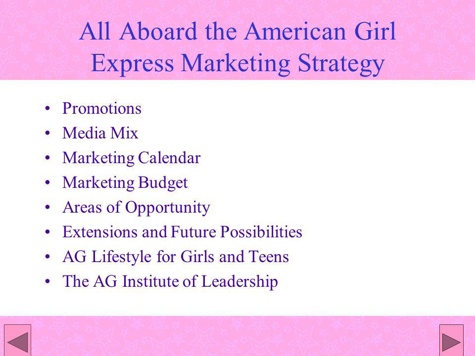 All Aboard the American Girl Express Marketing Strategy Promotions Media Mix Marketing Calendar Marketing Budget Areas of Opportunity Extensions and Future Possibilities AG Lifestyle for Girls and Teens The AG Institute of Leadership