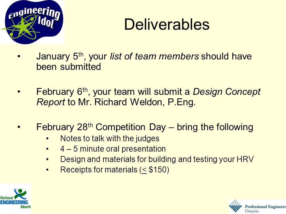 January 5 th, your list of team members should have been submitted February 6 th, your team will submit a Design Concept Report to Mr. Richard Weldon,