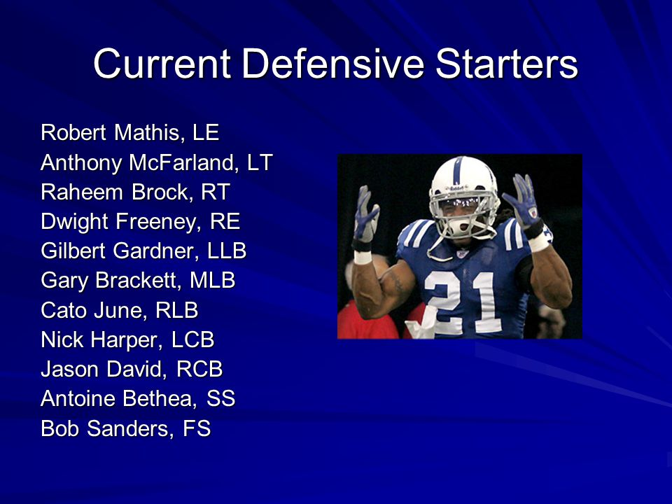 Current Offensive Starters Peyton Manning, QB Dominic Rhodes, RB Marvin Harrison, WR Reggie Wayne, WR Dallas Clark, TE Ben Utecht, TE Ryan Diem, RT Ja