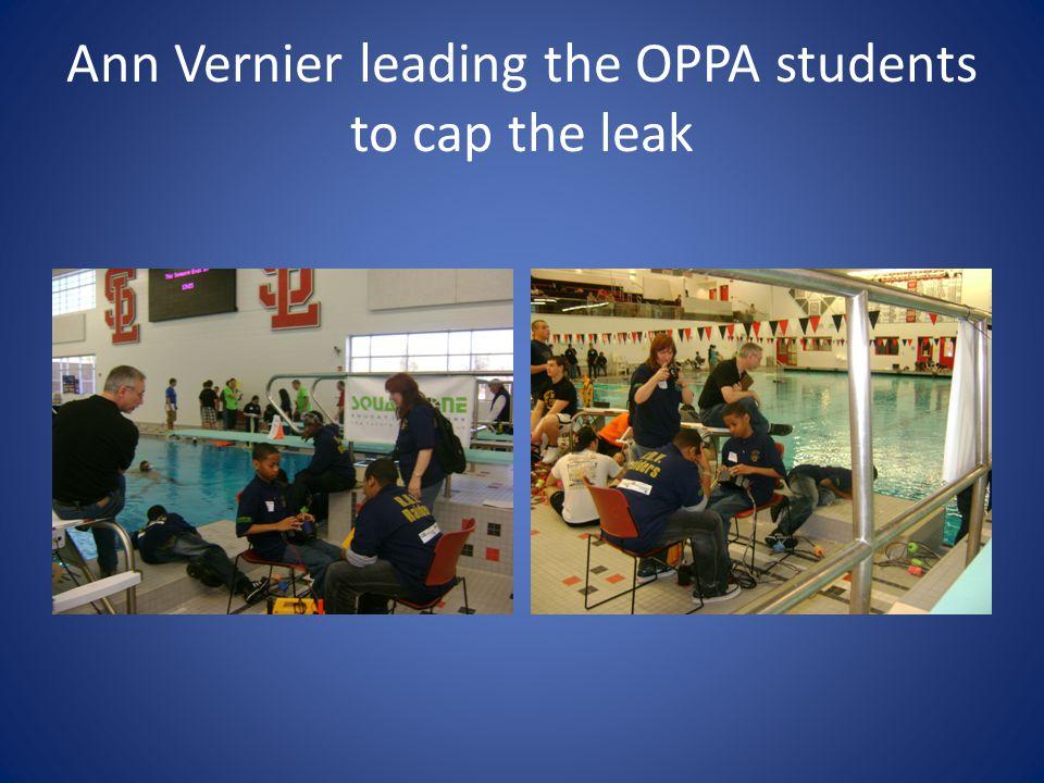 Ann Vernier leading the OPPA students to cap the leak