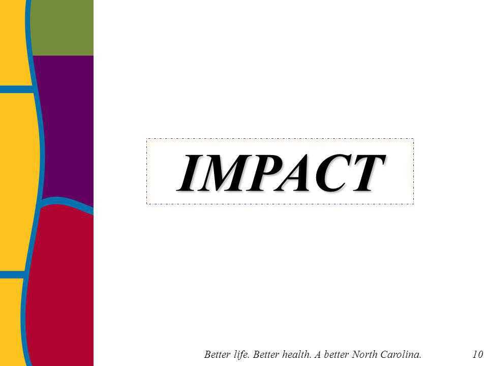Better life. Better health. A better North Carolina. 10 IMPACT