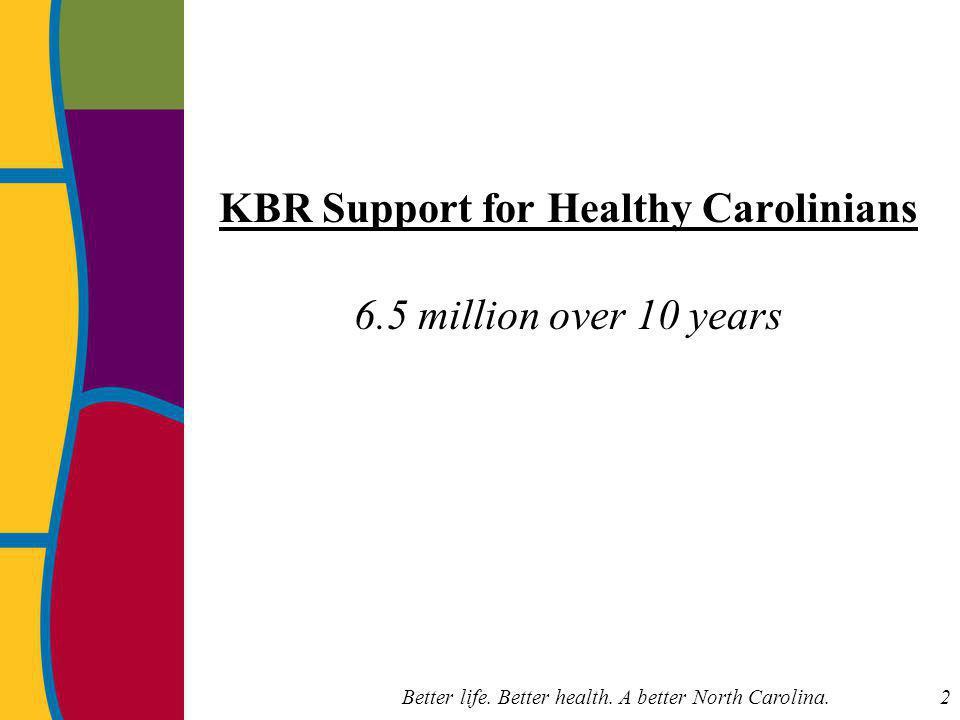 Better life. Better health. A better North Carolina. 43