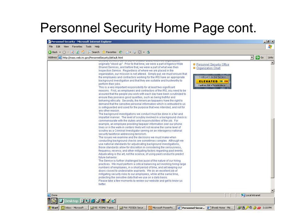 Personnel Security Home Page cont.