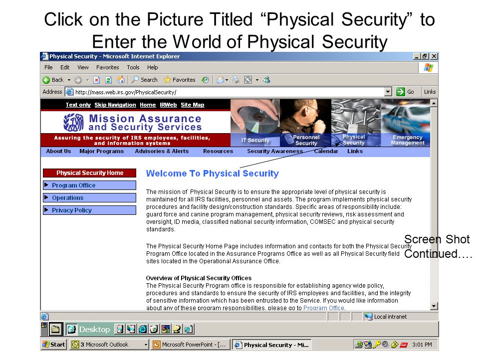 Click on the Picture Titled Physical Security to Enter the World of Physical Security Screen Shot Continued….