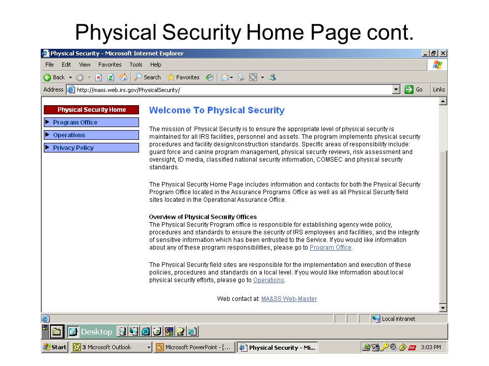 Physical Security Home Page cont.