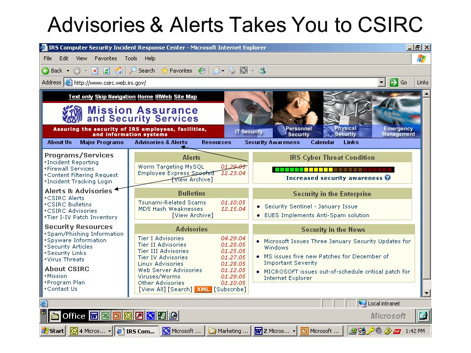 Advisories & Alerts Takes You to CSIRC