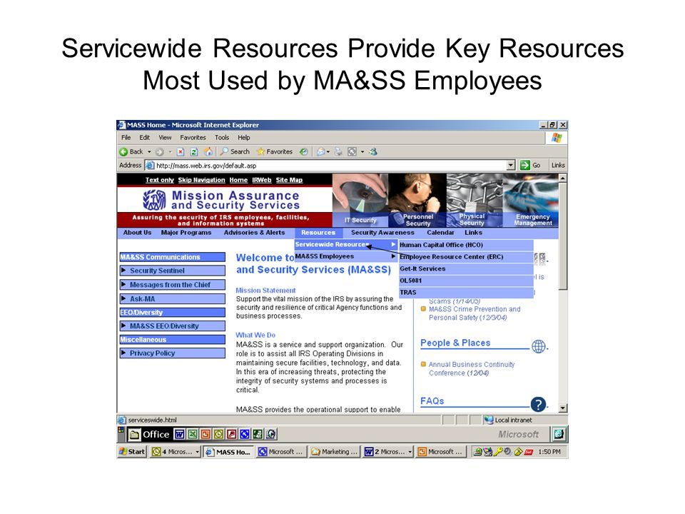 Servicewide Resources Provide Key Resources Most Used by MA&SS Employees