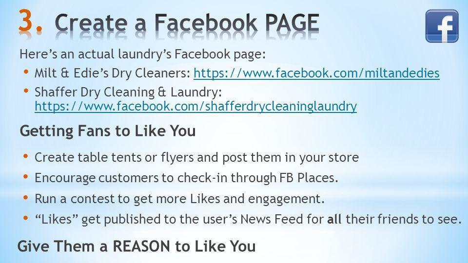 Heres an actual laundrys Facebook page: Milt & Edies Dry Cleaners: https://www.facebook.com/miltandedieshttps://www.facebook.com/miltandedies Shaffer