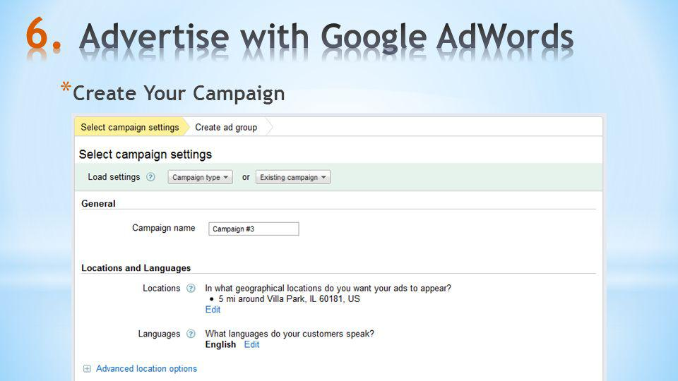 * Create Your Campaign