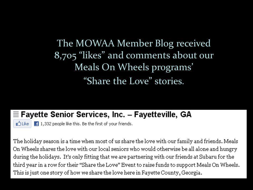The MOWAA Member Blog received 8,705 likes and comments about our Meals On Wheels programs Share the Love stories.
