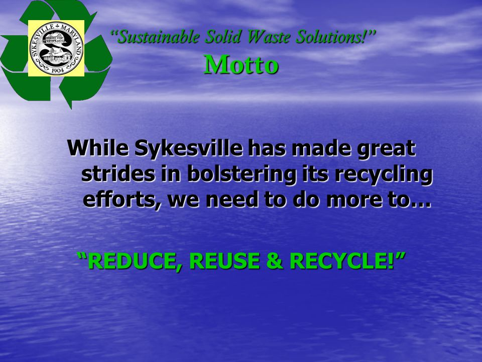 Sustainable Solid Waste Solutions! Projected Tipping Fees (p/ton)