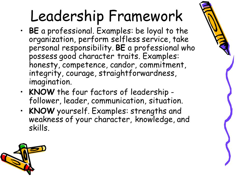 Leadership Framework BE a professional.