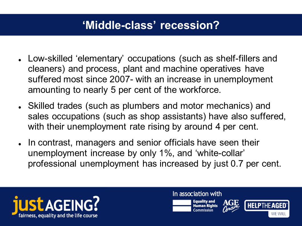 Middle-class recession? Low-skilled elementary occupations (such as shelf-fillers and cleaners) and process, plant and machine operatives have suffere