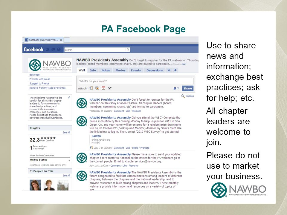 PA Facebook Page Use to share news and information; exchange best practices; ask for help; etc.