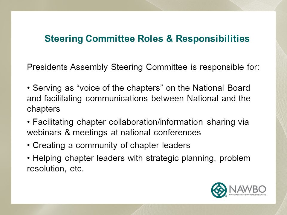 Why Should a Woman Business Owner Join NAWBO? Angelika Coghlan PASC Steering Committee