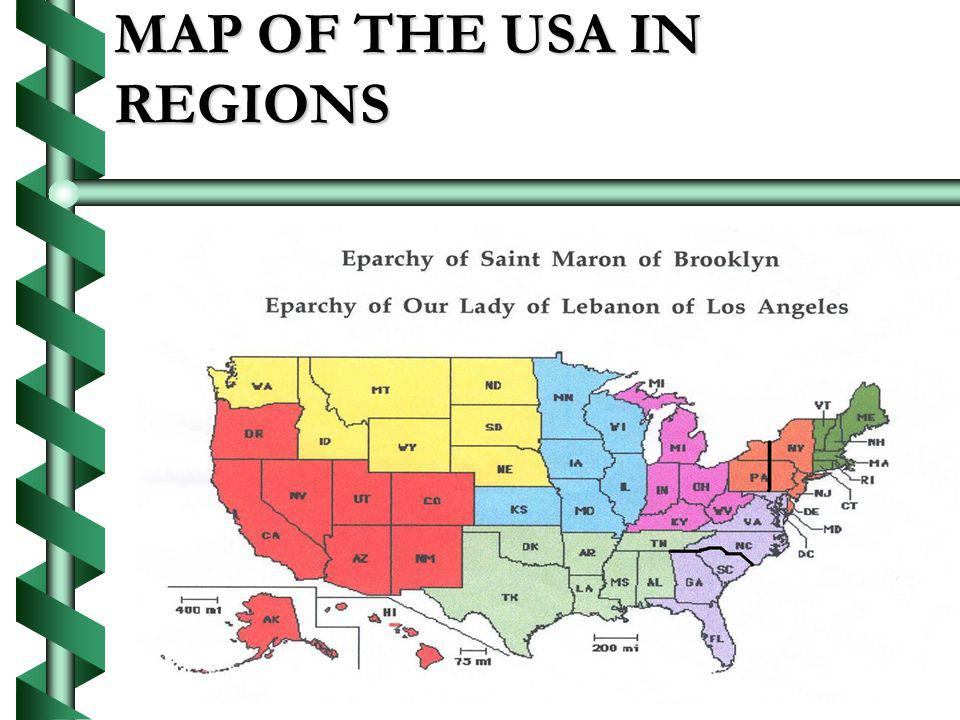 MAP OF THE USA IN REGIONS